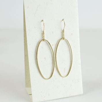 Elongated Oval Earrings in Gold