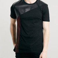 BURGUNDY faux leather PANEL T-SHIRT