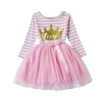 Toddler Stripe Baby Girl Christening Dress First Year Birthday Family Party Dress For Girl Infant Baptism Clothes 1 2 Years