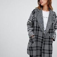 French Connection Edge to Edge Checked Coat at asos.com