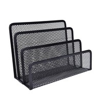 1PCS Black Office Supplies Wire Three Letter File For Mat Books Notepad Holder For School Home Office Desk Decor