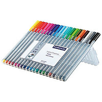 Staedtler Triplus Fineliner Porous Point Pens 03 mm Fine Point Gray Barrel Assorted Ink Pack Of 20 by Office Depot & OfficeMax
