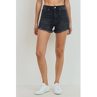 High Rise Frayed Hem Shorts - Black