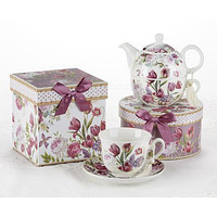 Gift Boxed Porcelain Teacup and Saucer - Tulip