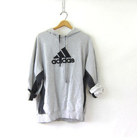 Vintage ADIDAS sweatshirt. Hooded sports sweatshirt. gray cotton blend boyfriend hoodie. Sporty pullover