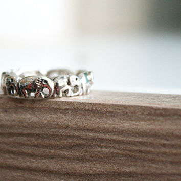 Elephant Silver Ring Sterling Ring .925 Silver Ring Personalized Ring(2)