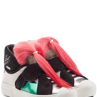Fendi - Karlito High-Top Sneakers with Suede and Goat Fur