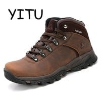 YITU 2018 Men's 100% Waterproof Hiking Shoes Outdoor Trekking Hunting Shoes Breathable Sneakers for Male Mountain Climbing Boots