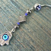 Purple hamsa hand belly ring protection hamsa hand in belly dancer indie gypsy hippie morrocan boho and hipster style