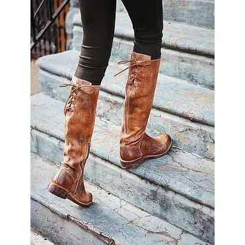 Woman's Lace Up Thick Tall Boots Shoes