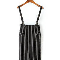 Vertical Striped Suspender Bodycon Skirt