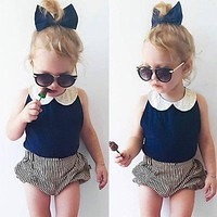 Lace Doll collar 2pcs girl sets Toddler Infant Kids Baby Girls Clothes T-shirt Tops+Striped Pants Outfits Set 1-4T