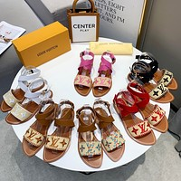 LV Louis Vuitton Woven Embroidered Letters Ladies Flat Sandals Beach Slippers Shoes
