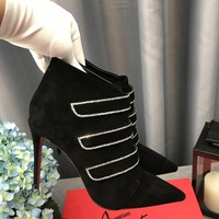 Hot Christian Louboutin Cl Triniboot Strass Black Ankle Boots