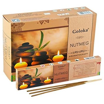 Goloka Aroma Nutmeg Incense - 15 Gram Pack (12 Packs Per Box)