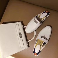 Hermes Women Trending Casual Shoes Flat Sandal Slipper Heels White