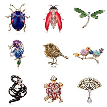 Vintage Bird Insect tortoise Brooches dragonfly snake Birds Dress Collar Suit Beetle Banquet Decoration Brooch Pins jewelry