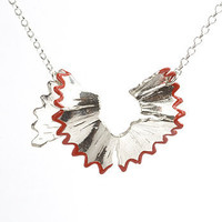 Red pencil shaving necklace by Vic Mason