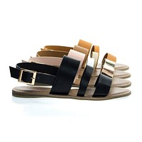 Bliss52m Colored Open Toe Flat Sandal In Faux Leather 7 Metallic Straps