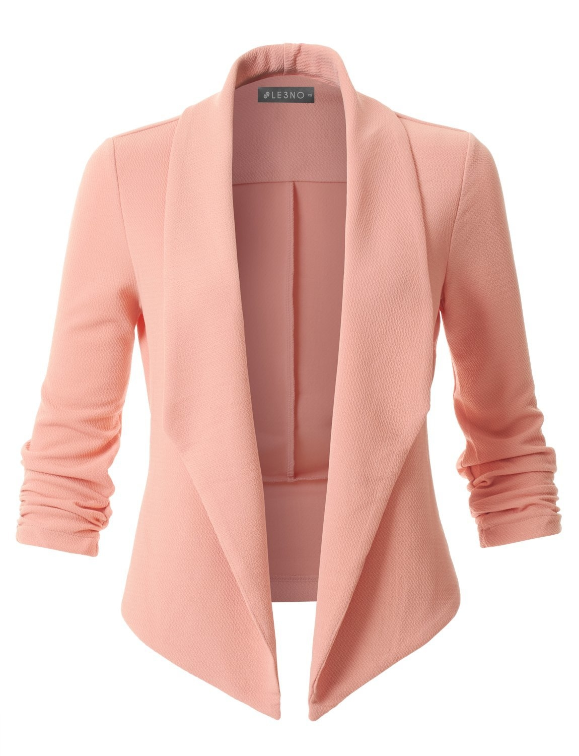 Image of Textured Ruched 3/4 Sleeve Open Front Tuxedo Blazer (CLEARANCE)