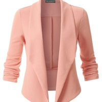 Textured Ruched 3/4 Sleeve Open Front Tuxedo Blazer (CLEARANCE)