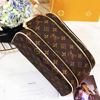 LV tide brand female double zipper handbag wash bag cosmetic bag