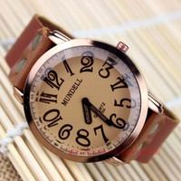 """Men big dial watches digital watches, the only not """"second hand"""" of the watch Brown leather bracelet watch"""