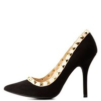 Black Studded Pointed Toe Pumps by Charlotte Russe