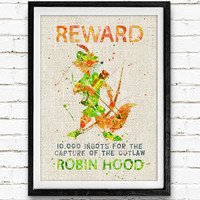 Disney, Robin Hood, Wanted, Watercolor Print, Baby Nursery Room Art, Home Decor, Not Framed, Buy 2 Get 1 Free!