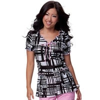 Koi Happiness Scrubs Women's Brittany Keyhole Neck Print Top