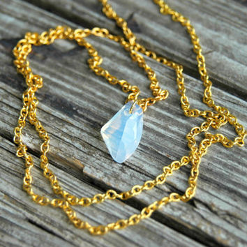 White Opal Swarovski Crystal Necklace . Opal Gold Necklace . Long Necklace . October Birthstone / Opalite Moonstone