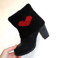 Knit Red Heart Socks Boot Cuff Knitted Leg Warmers Knit Heart Boot Cuff Winter Holiday Fashion Accessories Gift ideas For Her Christmas Gift
