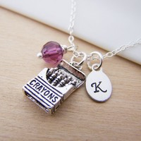 Crayon Charm Swarovski Birthstone Initial Personalized Sterling Silver Necklace / Gift for Her