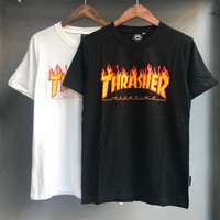 HCXX 19June 929 THRASHER Magazine Flame Classic Yellow Flame Letter Flame Short Sleeves