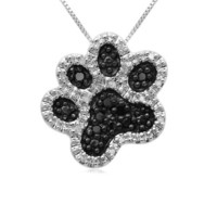 Sterling Silver Black and White Diamond Dog Paw Pendant Necklace (1/10 cttw I-J Color, I2-I3 Clarity), 18""