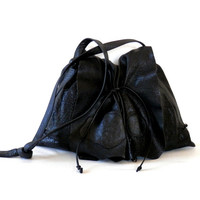 Carlos Falchi Purse Black Leather Hobo Bag with Butterfly Flap