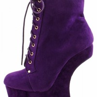 Mona Mia Freda1 Purple Heel Less Laced Ankle Boots shop Boots at MakeMeChic.com