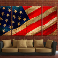 Framed 3 panels USA flag, Canvas wall Hanging, Ready to hang on wall