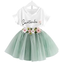 Girls Clothes White Shirts+Tutu Tulle Skirts Fashion Kids Suits for Girls 2018 New Summer 2 4 5 6 7 8 Year Children Clothing set