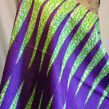 Dutch African Wax Print Fabric by the HALF YARD. Lime Green and Purple--Graduated Stripes