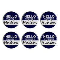 Hudson Hello My Name Is Plastic Resin Button Set of 6