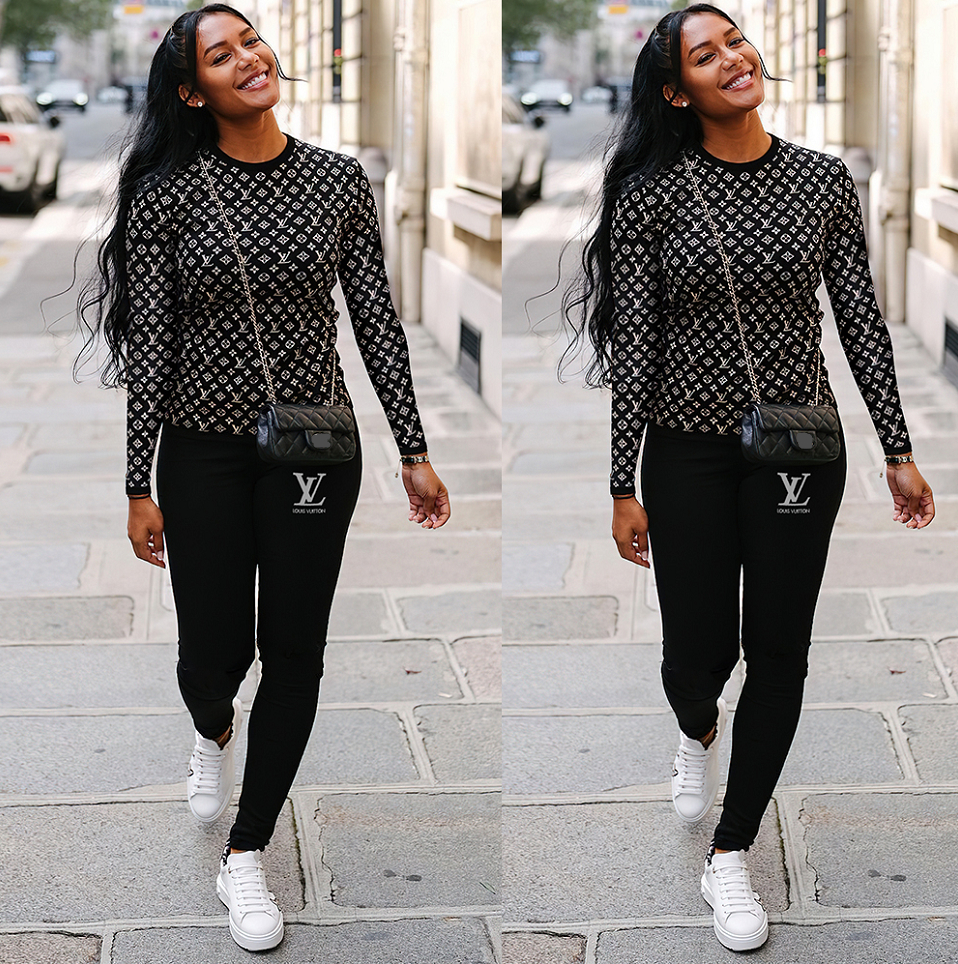 Image of LV Louis Vuitton Women Long sleeve Top Trousers Two-piece