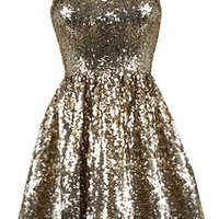 Glitter Rocket Dress | Strapless Gold Sequin Sweetheart Dress | RicketyRack.com