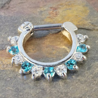 16 Gauge Aqua Blue and Clear Crystal Septum Ring Clicker Daith Ring Nose Piercing