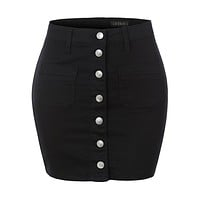Casual Mid Rise Stretchy Button Up A-Line Denim Mini Skirt (CLEARANCE)
