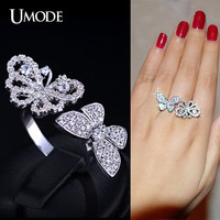UMODE Selene Series Micro CZ Paved Two Flying Butterfly Between The Finger Ring White Gold Color Jewelry For Women UR0156B