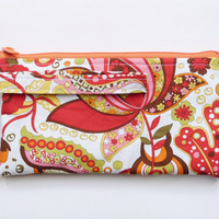 Psychedelic Orange Wristlet, Large Clutch Purse, Fun and Bright Boho Hippie Accessory, Lime Green and Red Retro Floral Fabric