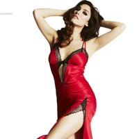 Women Lace Nightie summer Sexy Lingerie Nightwear Sexy Deep V Neck Low Backless Chemise Robes Nightdress 63