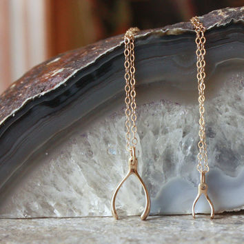 Mother Daughter Necklace Set - Gold Wishbone Pendant . Sisters Jewelry . Best Friends Necklace Set . Matching Necklaces . Two Necklaces