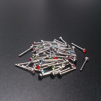 60Pcs Crystal Rhinestone Nose Piercing Bone Stud Stainless Surgical Steel Body Piercing Jewelry